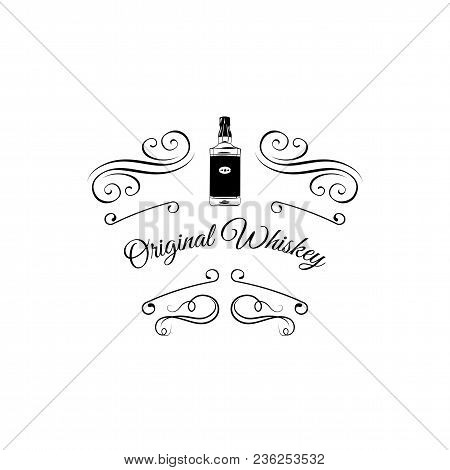 Whiskey Scotch Bottle Design. Decorative Frame, Scroll Elements, Swirls. Vector. Original Whiskey In
