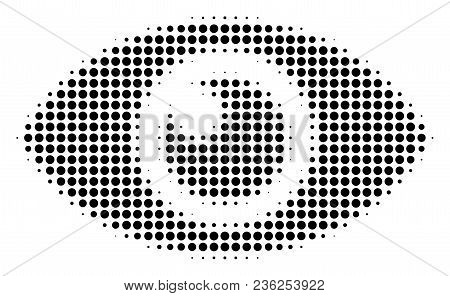 Eye Halftone Vector Pictogram. Illustration Style Is Dotted Iconic Eye Icon Symbol On A White Backgr
