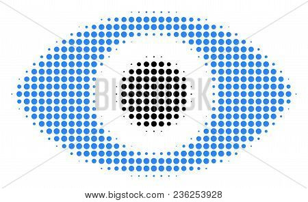 Eye Halftone Vector Icon. Illustration Style Is Dotted Iconic Eye Icon Symbol On A White Background.
