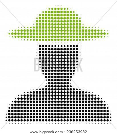 Farmer Person Halftone Vector Pictogram. Illustration Style Is Dotted Iconic Farmer Person Icon Symb