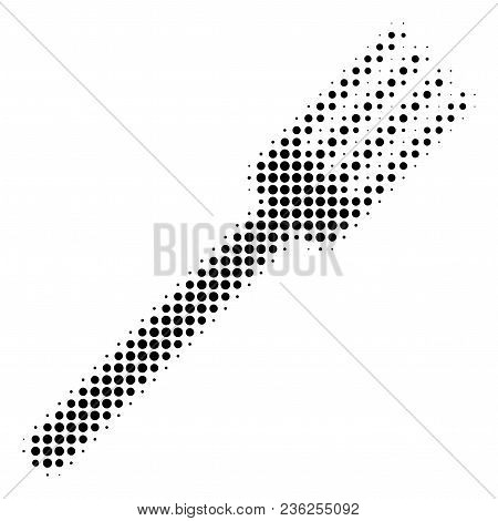 Fork Halftone Vector Icon. Illustration Style Is Dotted Iconic Fork Icon Symbol On A White Backgroun