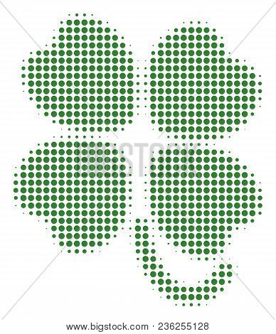 Four-leafed Clover Halftone Vector Icon. Illustration Style Is Dotted Iconic Four-leafed Clover Icon