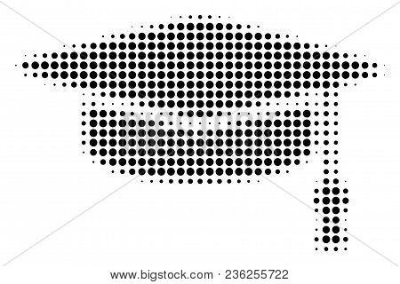 Graduation Cap Halftone Vector Icon. Illustration Style Is Dotted Iconic Graduation Cap Icon Symbol