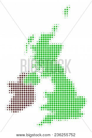Great Britain And Ireland Map Halftone Vector Pictogram. Illustration Style Is Dotted Iconic Great B