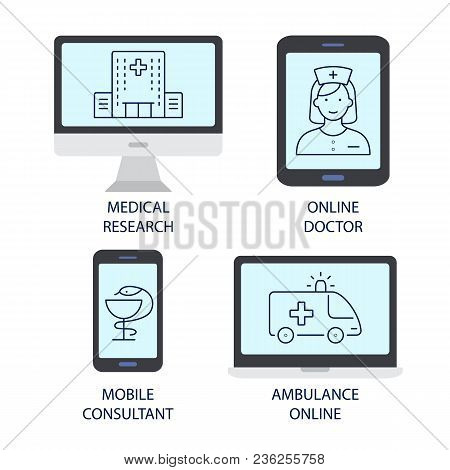Ambulance Online Flat Icons. Medical Research Online Doctor Mobile Consultant Ambulance Online Symbo