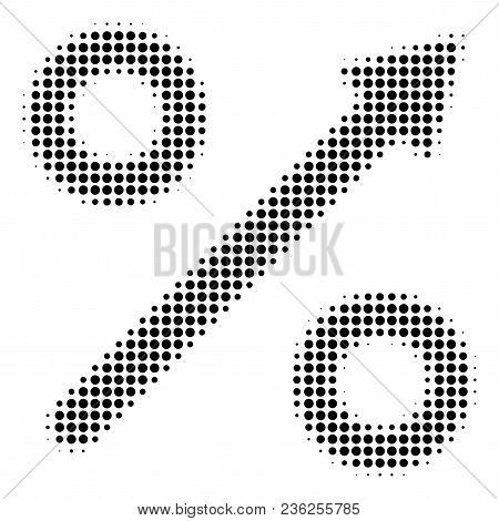Growing Percent Halftone Vector Pictogram. Illustration Style Is Dotted Iconic Growing Percent Icon
