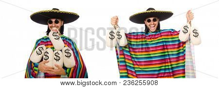 Handsome man in vivid poncho holding money bags isolated on whit