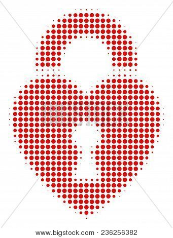 Heart Lock Halftone Vector Icon. Illustration Style Is Dotted Iconic Heart Lock Icon Symbol On A Whi