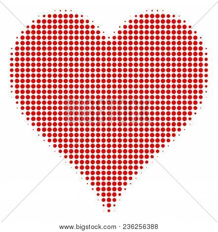 Hearts Suit Halftone Vector Pictogram. Illustration Style Is Dotted Iconic Hearts Suit Icon Symbol O