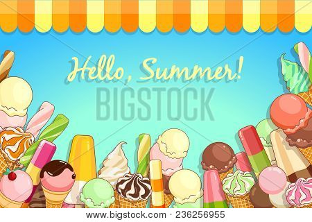 Ice Cream Poster. Brightly Colored Ice Cream, Waffle Cones, Popsicles On A Beautiful Background. Car