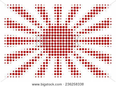 Japanese Rising Sun Halftone Vector Pictogram. Illustration Style Is Dotted Iconic Japanese Rising S