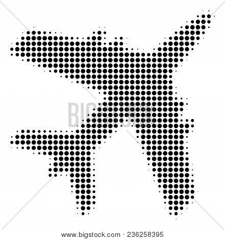 Jet Plane Halftone Vector Icon. Illustration Style Is Dotted Iconic Jet Plane Icon Symbol On A White