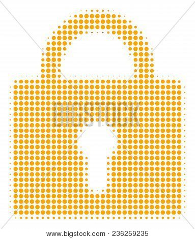 Lock Halftone Vector Pictogram. Illustration Style Is Dotted Iconic Lock Icon Symbol On A White Back