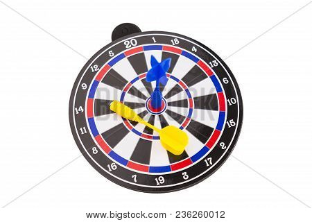 Blue Dart Arrow Hitting On Center Of Dartboard Isolated On White Background, In Concept Of Opportuni
