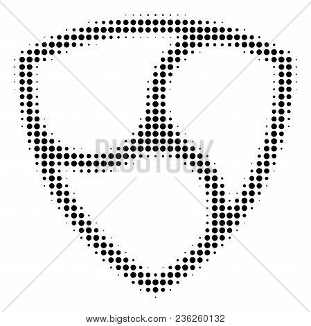 Nem Currency Halftone Vector Pictogram. Illustration Style Is Dotted Iconic Nem Currency Icon Symbol