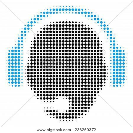 Operator Head Halftone Vector Pictogram. Illustration Style Is Dotted Iconic Operator Head Icon Symb