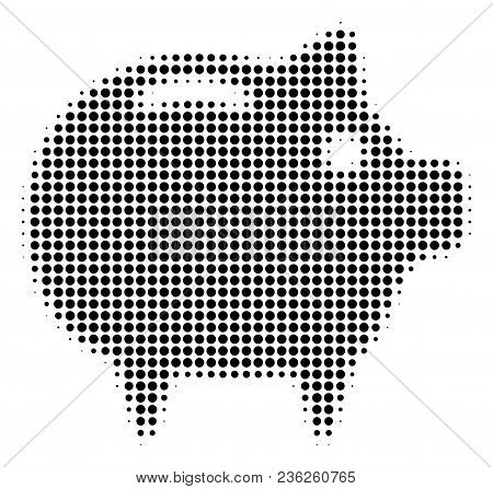 Piggy Bank Halftone Vector Pictogram. Illustration Style Is Dotted Iconic Piggy Bank Icon Symbol On