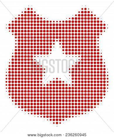 Police Shield Halftone Vector Pictogram. Illustration Style Is Dotted Iconic Police Shield Icon Symb