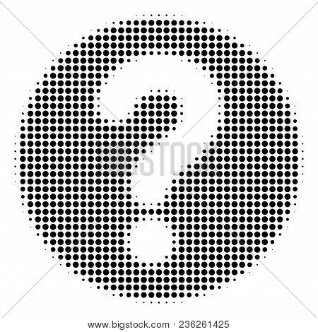 Query Halftone Vector Icon. Illustration Style Is Dotted Iconic Query Icon Symbol On A White Backgro