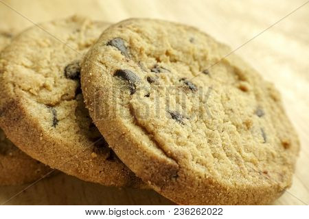 Chocolate Chip Cookies On Wooden -  Sweet Biscuits Homemade Pastry - Closeup