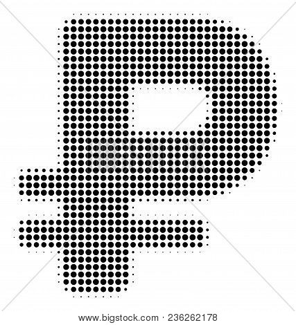 Rouble halftone vector icon. Illustration style is dotted iconic Rouble icon symbol on a white background. Halftone texture is circle points. poster