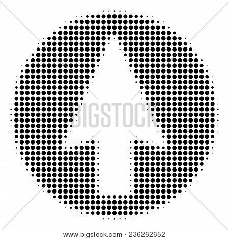 Rounded Arrow Halftone Vector Icon. Illustration Style Is Dotted Iconic Rounded Arrow Icon Symbol On