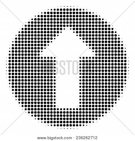 Rounded Arrow Halftone Vector Pictogram. Illustration Style Is Dotted Iconic Rounded Arrow Icon Symb