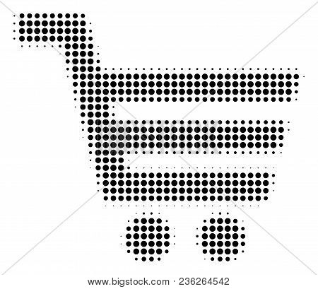 Shopping Cart Halftone Vector Icon. Illustration Style Is Dotted Iconic Shopping Cart Icon Symbol On