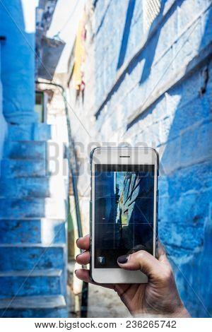 Woman exploring the blue city, Jodhpur India