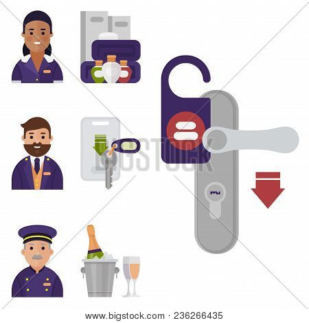 Hotel Workers Personal Professional Service Man And Woman Job Uniform Objects Hostel Manager Vector