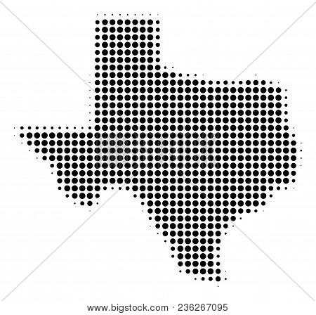 Texas Map Halftone Vector Pictogram. Illustration Style Is Dotted Iconic Texas Map Icon Symbol On A