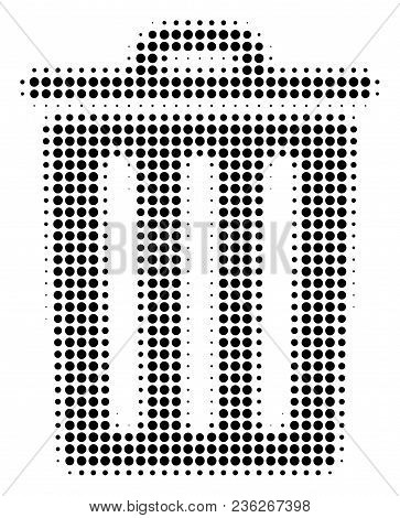 Trash Bin Halftone Vector Icon. Illustration Style Is Dotted Iconic Trash Bin Icon Symbol On A White