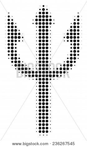Trident Fork Halftone Vector Icon. Illustration Style Is Dotted Iconic Trident Fork Icon Symbol On A