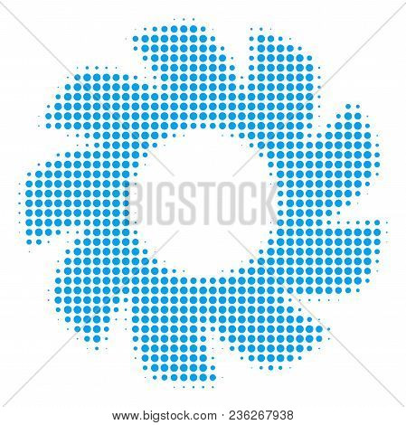 Turbine Halftone Vector Icon. Illustration Style Is Dotted Iconic Turbine Icon Symbol On A White Bac