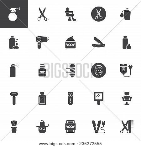 Barber Shop Vector Icons Set, Modern Solid Symbol Collection, Filled Style Pictogram Pack. Signs, Lo