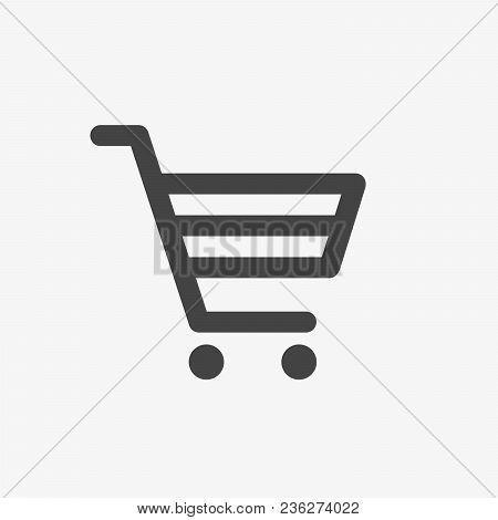 Shopping Cart Vector Icon. Online Shop, Market, Shopping, Bag, Buy Concept. Silhouette, Line, Thin S