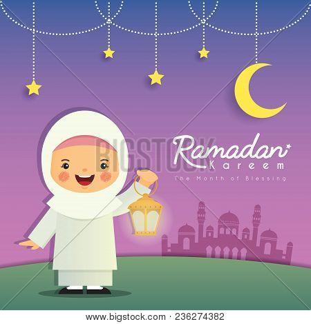 Ramadan Greeting Card. Cute Cartoon Muslim Girl Holding Lantern With Crescent Moon, Stars And Mosque