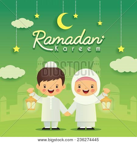Ramadan Greeting Card. Cute Cartoon Muslim Kids Holding Lantern With Crescent Moon, Stars And Mosque