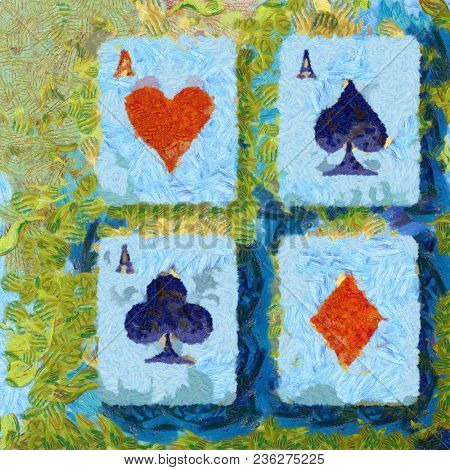 Four aces of diamonds clubs spades hearts impressionistic abstract art