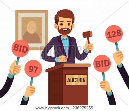Auction With Man Holding Gavel And People Raised Hands With Bid Paddles Vector Concept. Auction Busi