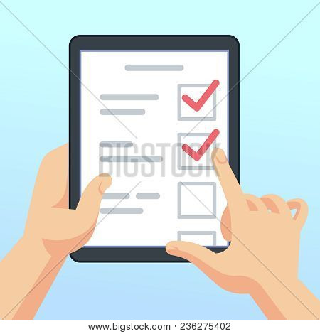 Hands Holding Tablet With Online Survey Form, Questionnaire. Mobile Marketing Feedback Vector Concep