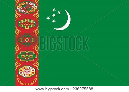 Flag Of Turkmenistan Official Colors And Proportions, Vector Image
