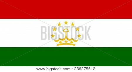 Flag Of Tajikistan Official Colors And Proportions, Vector Image