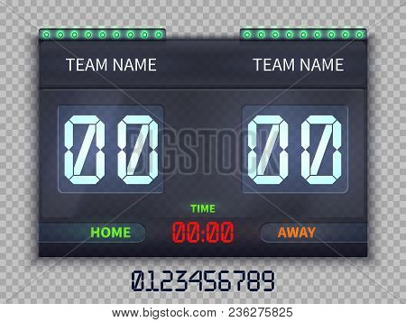 Soccer European Football Scoreboard With Match Time And Score Vector Illustration Isolated. Team Soc