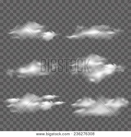 Collection Of Realistic White Clouds On Transparent Background. Vector