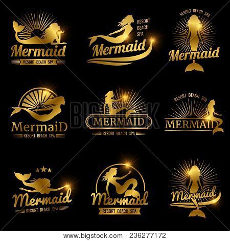 Golden Mermaid Labels. Shiny Resort Beach Spa Logos Design. Woman With Tai Badge For Spa, Vector Ill