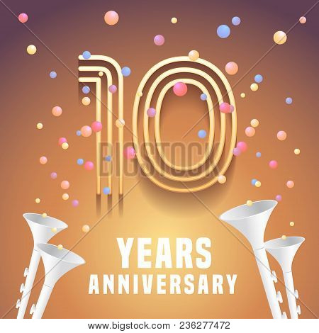 10 Years Anniversary Vector Icon, Symbol. Graphic Design Element With Festive Background And Horns F