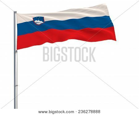 Isolate Flag Of Slovenia On A Flagpole Fluttering In The Wind On A White Background, 3d Rendering