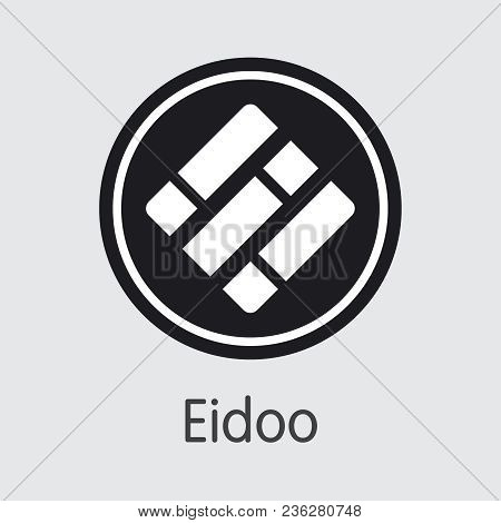 Eidoo - Cryptocurrency Pictogram. Vector Coin Illustration Of Digital Currency Icon On Grey Backgrou