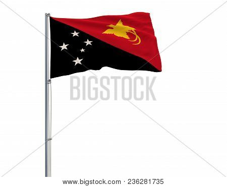 Isolate Flag Of Papua New Guinea On A Flagpole Fluttering In The Wind On A White Background, 3d Rend